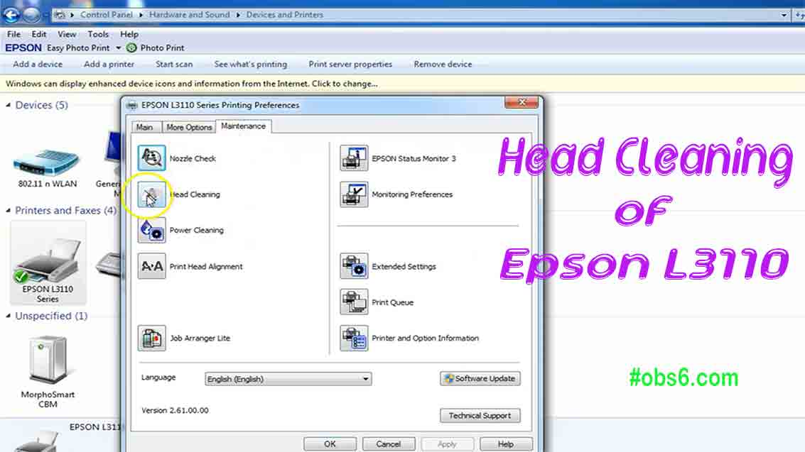 Head Cleaning of Epson L3110 Multifunction InkTank Printer