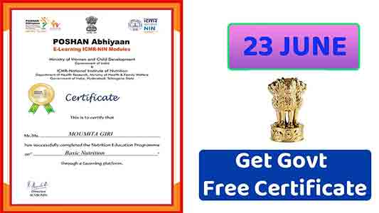 Certificate from POSHAN Abhiyaan E-Learning ICMR-NIN Modules