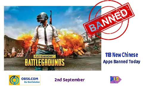 Indian Govt banned PUBG gaming App with 118 Apps